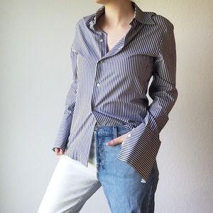 Equipment Striped Cotton Button Front Shirt - M